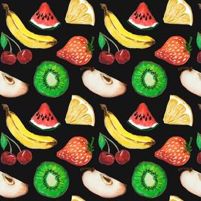 Fruit salad in black