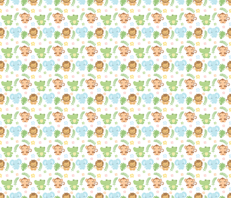 Jungle Mix Up / monkey lion elephant alligator fabric by snapdragonandfinn on Spoonflower - custom fabric