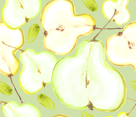 Pear Halves Water Colour fabric by pattern_garden on Spoonflower - custom fabric