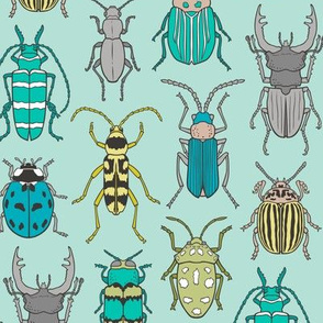 Beetles Insects Forest Bugs on Mint Green