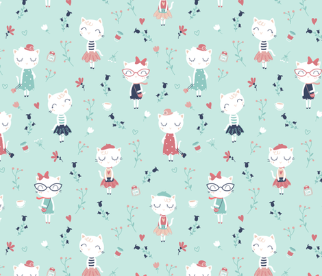 Très Chic - ment fashionable cats in Paris fabric by ewa_brzozowska on Spoonflower - custom fabric
