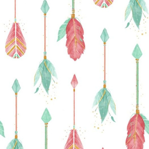 Watercolor Arrows - Pink and mint