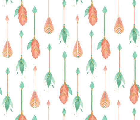 Watercolor Arrows - Coral and mint fabric by ewa_brzozowska on Spoonflower - custom fabric