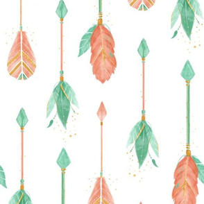 Watercolor Arrows - Coral and mint