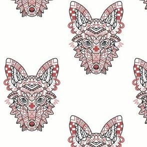 Awesome Geometric Red Rust Wolf Fox