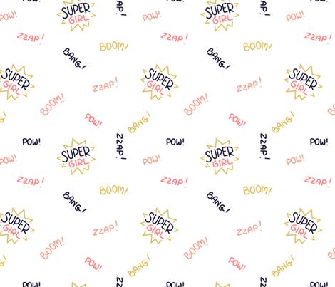 Girls can be heroes too - texts fabric by ewa_brzozowska on Spoonflower - custom fabric