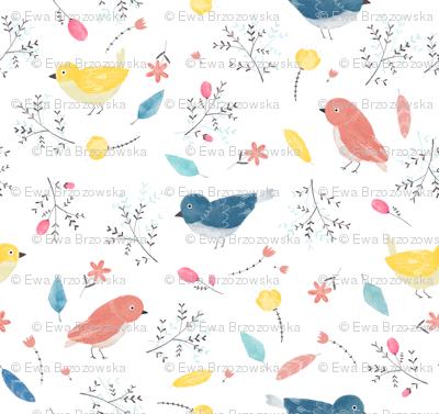Birds' nest - watercolour birds with flowers