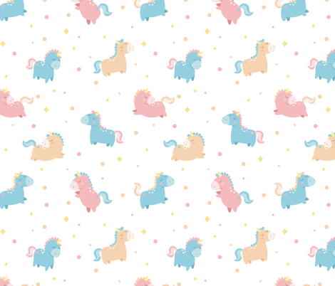 Pastel Unicorns fabric by ewa_brzozowska on Spoonflower - custom fabric
