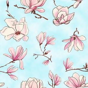 magnolias light blue clouds