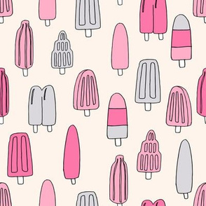 popsicle fabric // ice cream summer popsicles fabric food tropical summer design by andrea lauren - pink on cream