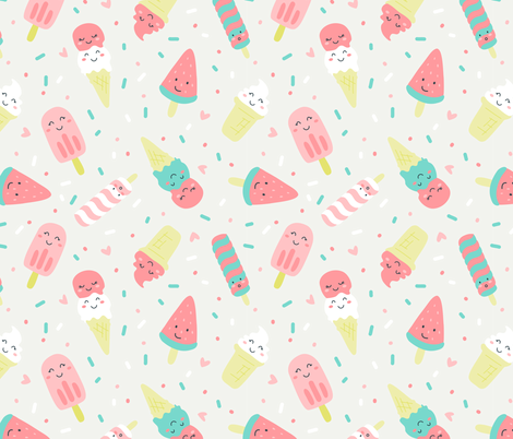 So cool - ice cream fabric by ewa_brzozowska on Spoonflower - custom fabric