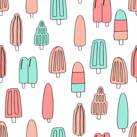 popsicle fabric // ice cream summer popsicles fabric food tropical summer design by andrea lauren - coral and mint fabric by andrea_lauren on Spoonflower - custom fabric