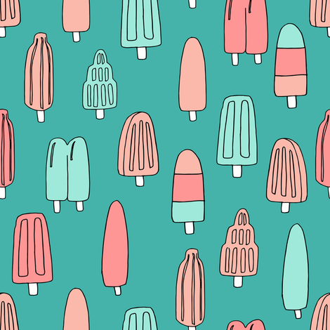 popsicle fabric // ice cream summer popsicles fabric food tropical summer design by andrea lauren - coral mint fabric by andrea_lauren on Spoonflower - custom fabric
