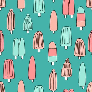 popsicle fabric // ice cream summer popsicles fabric food tropical summer design by andrea lauren - coral mint