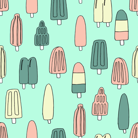 popsicle fabric // ice cream summer popsicles fabric food tropical summer design by andrea lauren - bright mint fabric by andrea_lauren on Spoonflower - custom fabric
