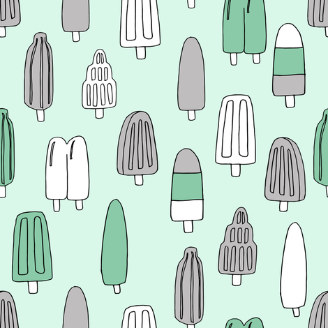 popsicle fabric // ice cream summer popsicles fabric food tropical summer design by andrea lauren - mint and grey fabric by andrea_lauren on Spoonflower - custom fabric