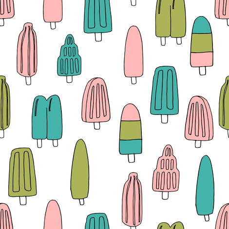 popsicle fabric // ice cream summer popsicles fabric food tropical summer design by andrea lauren - pink and turquoise fabric by andrea_lauren on Spoonflower - custom fabric