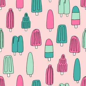 popsicle fabric // ice cream summer popsicles fabric food tropical summer design by andrea lauren - pink and turquoise