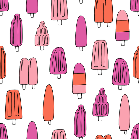 popsicle fabric // ice cream summer popsicles fabric food tropical summer design by andrea lauren - pink orange fabric by andrea_lauren on Spoonflower - custom fabric