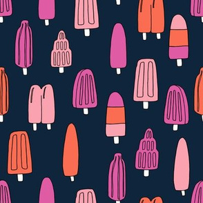popsicle fabric // ice cream summer popsicles fabric food tropical summer design by andrea lauren - pink and black