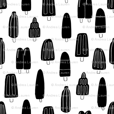 popsicle fabric // ice cream summer popsicles fabric food tropical summer design by andrea lauren - black and whtie