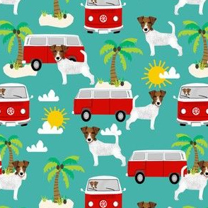jack russell terrier fabric beach bus hippie palm trees design cute dogs - turquoise
