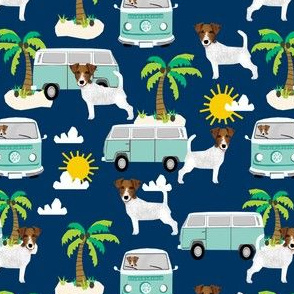 jack russell terrier fabric beach bus hippie palm trees design cute dogs - navy