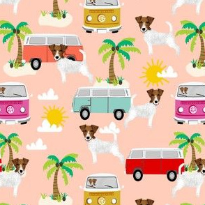 jack russell terrier fabric beach bus hippie palm trees design cute dogs - blush