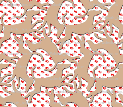 Prancing Beige Greyhound Silhouettes on Red Pawprints