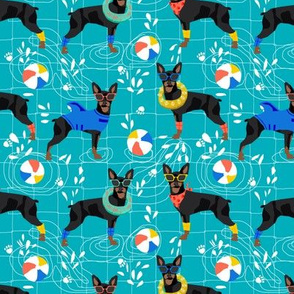 miniature pinscher pool party fabric summer dog dogs cute pets design - blue