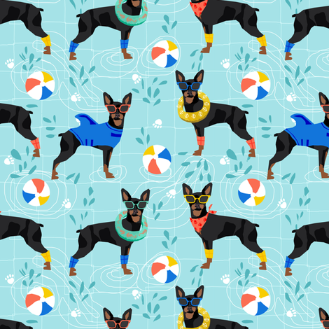 miniature pinscher pool party fabric summer dog dogs cute pets design - turquoise fabric by petfriendly on Spoonflower - custom fabric