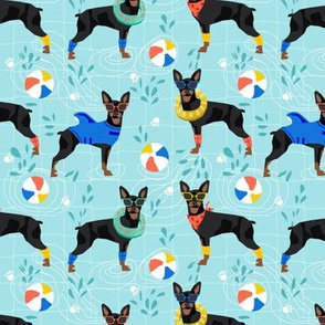 miniature pinscher pool party fabric summer dog dogs cute pets design - turquoise