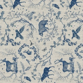 Woodland winter toile (navy) RAILROAD
