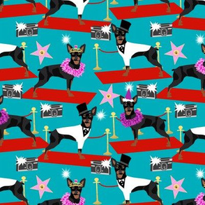 miniature pinscher fashion show red carpet paparazzi dog design, cute dogs fabric - turquoise