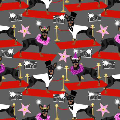 miniature pinscher fashion show red carpet paparazzi dog design, cute dogs fabric - charcoal fabric by petfriendly on Spoonflower - custom fabric