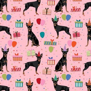miniature pinscher birthday fabric cute dogs and birthday hats presents dog birthday - pink