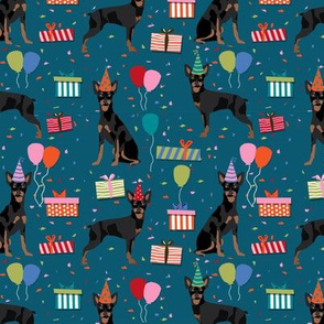 miniature pinscher birthday fabric cute dogs and birthday hats presents dog birthday - sapphire