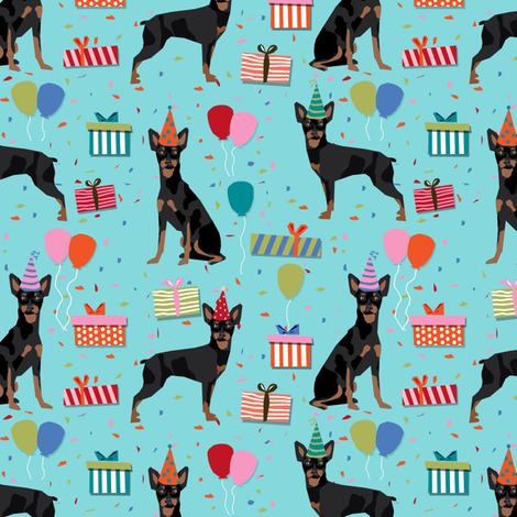 Miniature Pinscher Birthday Fabric Cute Dogs And Hats Presents Dog