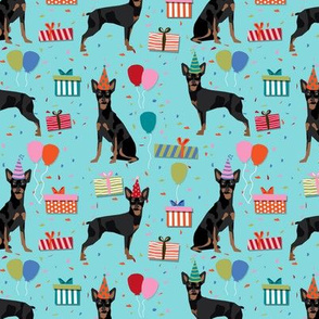 miniature pinscher birthday fabric cute dogs and birthday hats presents dog birthday - blue