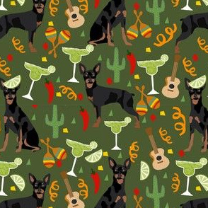 miniature pinscher fiesta fabric dogs and margaritas celebration fabric - green