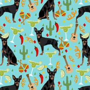 miniature pinscher fiesta fabric dogs and margaritas celebration fabric - blue