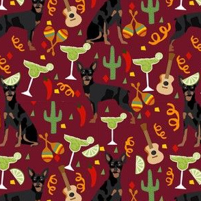 miniature pinscher fiesta fabric dogs and margaritas celebration fabric - marroon