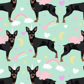 miniature pinscher pastel unicorn fabric rainbows hearts cute doggo design - mint