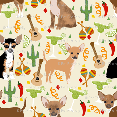 Chihuahua Fiesta Fabric Cute Dogs And Margaritas