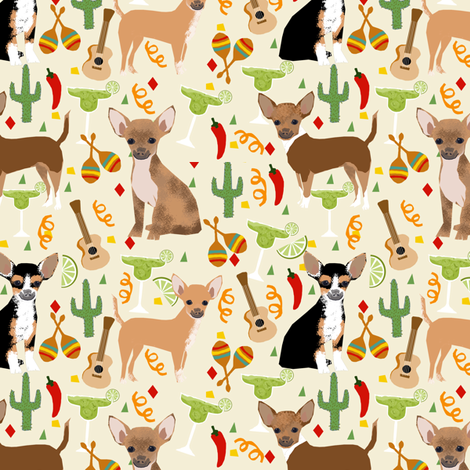 chihuahua fiesta fabric cute dogs and margaritas celebration fabric - cream fabric by petfriendly on Spoonflower - custom fabric