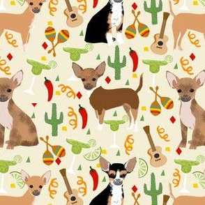 chihuahua fiesta fabric cute dogs and margaritas celebration fabric - cream