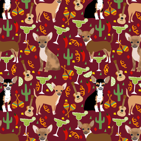 chihuahua fiesta fabric cute dogs and margaritas celebration fabric - marroon fabric by petfriendly on Spoonflower - custom fabric