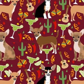 chihuahua fiesta fabric cute dogs and margaritas celebration fabric - marroon