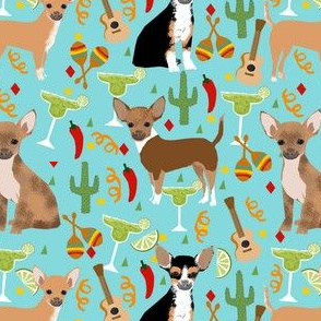 chihuahua fiesta fabric cute dogs and margaritas celebration fabric - blue