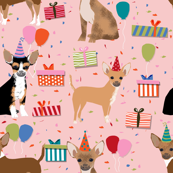 chihuahua dog birthday fabric dogs celebration design birthday hats - pink